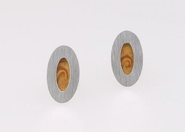 Ohrstecker Oval Vogelaugenahorn