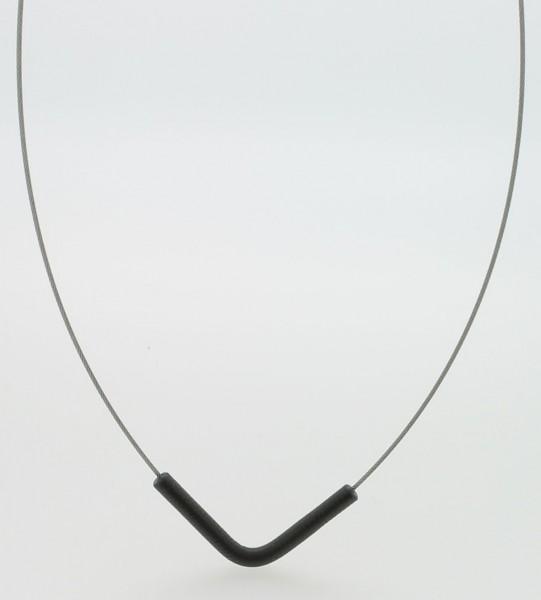 Collier mit Anhänger V-Form Schwarz