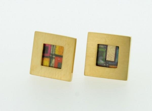 Ohrstecker Quadrat Bild 502 Gold