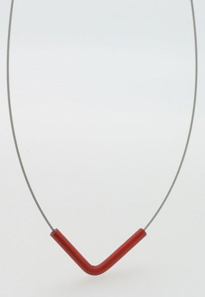 Collier mit Anhänger V-Form Rot